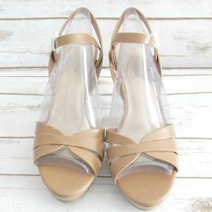 Bamboo Tan Ankle Strap Glamer Stiletto Sandal